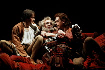 HENRY IV part i   by Shakespeare   set design: Bob Crowley   costumes: Deirdre Clancy   lighting: Alan Burrett   director: Adrian Noble   Eastcheap - l-r: Michael Maloney (Henry, Prince of Wales / Ha...