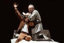 HENRY IV part ii   by Shakespeare   set design: Bob Crowley   costumes: Deirdre Clancy   lighting: Alan Burrett   director: Adrian Noble ~l-r: Michael Maloney (Henry / Hal), Julian Glover (King Henry...