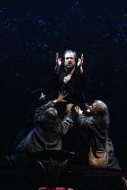 MACBETH   by Shakespeare   design: Bob Crowley   lighting: Jean Kalman   director: Richard Eyre ~Alan Howard (Macbeth) with the Witches (Weird Sisters)~Olivier Theatre / National Theatre (NT), London...