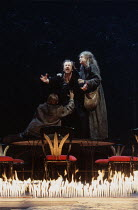 MACBETH   by Shakespeare   design: Bob Crowley   lighting: Jean Kalman   director: Richard Eyre   Alan Howard (Macbeth) with Witches (Weird Sisters) Olivier Theatre / National Theatre (NT), London S...