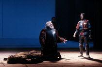 HENRY IV part i   by Shakespeare   set design: Bob Crowley   costumes: Deirdre Clancy   lighting: Alan Burrett   director: Adrian Noble ~V/iv - centre: Robert Stephens (Sir John Falstaff)   right: Mic...