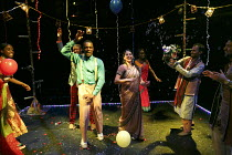 ROMEO AND JULIET   by Shakespeare   in a new version for young audiences by Ben Power   design: Becs Andrews   lighting: Paul Knott   director: Bijan Sheibani ~ball scene - centre: Tendayi Jembere (Ro...