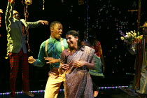 ROMEO AND JULIET   by Shakespeare   in a new version for young audiences by Ben Power   design: Becs Andrews   lighting: Paul Knott   director: Bijan Sheibani ~ball scene - front centre: Tendayi Jembe...