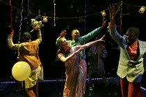 ROMEO AND JULIET   by Shakespeare   in a new version for young audiences by Ben Power   design: Becs Andrews   lighting: Paul Knott   director: Bijan Sheibani ~ball scene - centre: Natalie Drew (Julie...