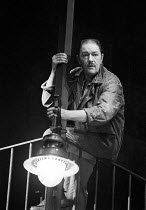 A VIEW FROM THE BRIDGE   by Arthur Miller   design: Alan Tagg   lighting: Mick Hughes   director: Alan Ayckbourn ~Michael Gambon (Eddie Carbone)~National Theatre production / Aldwych Theatre, London W...