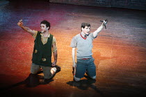 BLOOD BROTHERS   book, music & lyrics by Willy Russell   design: Marty Flood   lighting: Jon Swain   director: Bob Tomson & Bill Kenwright ~~l-r: Antony Costa (Mickey), Mark Hutchinson (Eddie)~Phoenix...