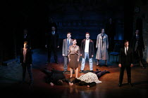 BLOOD BROTHERS   book, music & lyrics by Willy Russell   design: Marty Flood   lighting: Jon Swain   director: Bob Tomson & Bill Kenwright ~~final scene - centre: Maureen Nolan (Mrs Johnstone) standin...