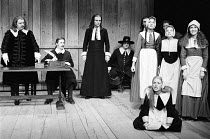 THE CRUCIBLE   by Arthur Miller   set design: Hayden Griffin   costumes: Deirdre Clancy   lighting: Rory Dempster   director: Bill Bryden ~rear left, l-r: Tony Haygarth (Deputy Governor Danforth), Bar...