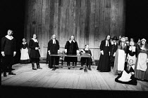 THE CRUCIBLE   by Arthur Miller   set design: Hayden Griffin   costumes: Deirdre Clancy   lighting: Rory Dempster   director: Bill Bryden ~front left: Mark McManus (John Proctor)   rear centre: Tony H...