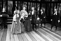 THE CRUCIBLE   by Arthur Miller   design: Shelagh Keegan   lighting: Paul Denby   director: David Thacker ~front centre, left: Cornelia Hayes (Abigail Williams)   right: Corin Redgrave (Deputy-Governo...