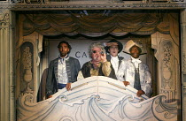 CANDIDE   a new play by Mark Ravenhill inspired by Voltaire   design: Soutra Gilmour   lighting: Tim Lutkin   director: Lyndsey Turner   l-r: Kevin Harvey (Jacques), Ian Redford (Pangloss), Ciaran Ow...