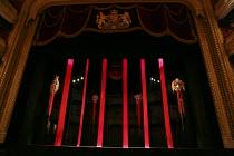 TURANDOT   by Puccini   conductor: Henrik Nanasi   design: Sally Jacobs   lighting: F. Mitchell Dana   choreography: Kate Flatt   original director: Andrei Serban   stage,empty,banners,masks,death,bl...