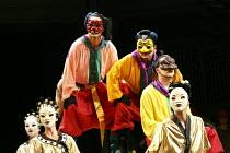 TURANDOT   by Puccini   conductor: Henrik Nanasi   design: Sally Jacobs   lighting: F. Mitchell Dana   choreography: Kate Flatt   original director: Andrei Serban   l-r: Dionysios Sourbis (Ping), Dou...