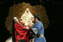 TURANDOT   by Puccini   conductor: Henrik Nanasi   design: Sally Jacobs   lighting: F. Mitchell Dana   choreography: Kate Flatt   original director: Andrei Serban   l-r: Lise Lindstrom (Princess Tura...