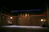 THE RITUAL SLAUGHTER OF GORGE MASTROMAS   by Dennis Kelly   design: Tom Scutt   lighting: Philip Gladwell   director: Vicky Featherstone   stage,set,empty,interion,neon Jerwood Theatre Downstairs /...