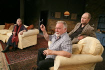 THE HERD   by Rory Kinnear   design: Helen Goddard   lighting: Rick Fisher   director: Howard Davies   l-r: Anna Calder-Marshall (Patricia), Kenneth Cranham (Brian), Adrian Rawlins (Ian) Bush Theatr...
