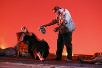 ELEKTRA   by Richard Strauss   conductor: Andris Nelsons   set design, lighting & direction: Charles Edwards   costumes: Brigitte Reifenstuel   closing scene: Michaela Schuster (Kltytamnestra - dead)...