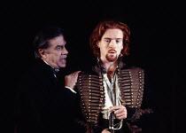 HAMLET   by Shakespeare   set design: Peter J Davison   costumes: James Acheson   lighting: Mark Henderson   director: Jonathan Kent   l-r: James Laurenson (Polonius), Damian Lewis (Laertes) Hackney...