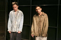 RELIGION AND ANARCHY   by Steven Berkoff   design: Cherry Truluck   lighting: Paul McLeish   directors: Steven Berkoff & Max Barton ~'Line-up' - l-r: Tom Lincoln (B), Anthony Barclay (A)~Jermyn Street...