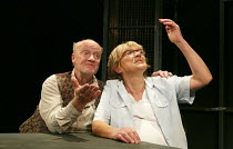 RELIGION AND ANARCHY   by Steven Berkoff   design: Cherry Truluck   lighting: Paul McLeish   directors: Steven Berkoff & Max Barton ~'Guilt': Clive Mendus (Henry), Gillian Wright (Polly)~Jermyn Street...