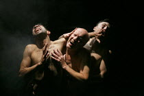 RELIGION AND ANARCHY   by Steven Berkoff   design: Cherry Truluck   lighting: Paul McLeish   directors: Steven Berkoff & Max Barton ~'Gas' - l-r: Anthony Barclay (A), Clive Mendus (C), Tom Lincoln (B)...