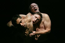 RELIGION AND ANARCHY   by Steven Berkoff   design: Cherry Truluck   lighting: Paul McLeish   directors: Steven Berkoff & Max Barton ~'Gas' - l-r: Anthony Barclay (A), Tom Lincoln (B), Clive Mendus (C)...