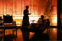 GHOSTS   by Ibsen   adapted & directed by Richard Eyre   design: Tim Hatley  lighting: Peter Mumford   final scene: Lesley Manville (Mrs Alving), Jack Lowden (Oswald Alving)  Almeida Theatre, Londo...