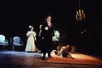 HAMLET   by Shakespeare   set design: Peter J Davidson   costumes: James Acheson   lighting: Mark Henderson   director: Jonathan Kent   l-r: Francesca Annis(Gertrude), (part obscured) Peter Eyre (Po...