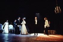 HAMLET   by Shakespeare   set design: Peter J Davidson   costumes: James Acheson   lighting: Mark Henderson   director: Jonathan Kent ~far left: Tara Fitzgerald (Ophelia)   3rd left: Francesca Annis (...