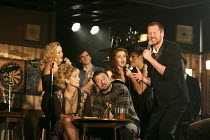 THE COMMITMENTS   by Roddy Doyle   design: Soutra Gilmour   lighting: Jon Clark   choreography: Ann Yeedirector: Jamie Lloyd ~front right: Killian Donnelly (Deco)  ~Palace Theatre, London W1   08/10/2...