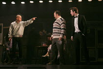 THE COMMITMENTS   by Roddy Doyle   design: Soutra Gilmour   lighting: Jon Clark   choreography: Ann Yeedirector: Jamie Lloyd ~l-r: Joe Woolmer (Mickah), Ben Fox (Joey 'The Lips'), Denis Grindel (Jimmy...