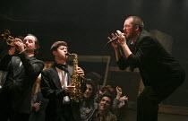 THE COMMITMENTS   by Roddy Doyle   design: Soutra Gilmour   lighting: Jon Clark   choreography: Ann Yeedirector: Jamie Lloyd   right: Killian Donnelly (Deco)   Palace Theatre, London W1   08/10/2013