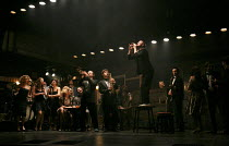 THE COMMITMENTS   by Roddy Doyle   design: Soutra Gilmour   lighting: Jon Clark   choreography: Ann Yeedirector: Jamie Lloyd ~left, l-r: Stephanie McKeon (Natalie), Sarah O'Connor (Imelda), Jessica Ce...