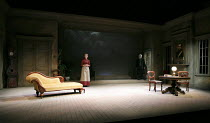 GHOSTS   by Ibsen   translated & directed by Stephen Unwin   design: Simon Higlett   lighting: Paul Pyant   stage,full,set   with Florence Hall (Regina), Pip Donaghy (Engstrand) English Touring Thea...