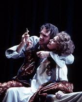 HAMLET   by Shakespeare   set design: Peter J Davidson   costumes: James Acheson   lighting: Mark Henderson   director: Jonathan Kent ~Ralph Fiennes (Hamlet), Francesca Annis (Gertrude)~Hackney Empire...