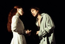 HAMLET   by Shakespeare   set design: Peter J Davidson   costumes: James Acheson   lighting: Mark Henderson   director: Jonathan Kent ~Tara Fitzgerald (Ophelia), Ralph Fiennes (Hamlet)~Hackney Empire,...
