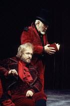 HAMLET   by Shakespeare   design: Lucy Hall   lighting: Joe Atkins   director: Peter Hall   l-r: Michael Pennington (Claudius), Donald Sinden (Polonius) Peter Hall Company / Gielgud Theatre, London...