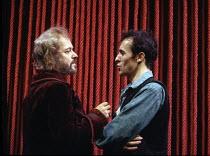 HAMLET   by Shakespeare   design: Lucy Hall   lighting: Joe Atkins   director: Peter Hall   l-r: Michael Pennington (Claudius), Stephen Dillane (Hamlet)  Peter Hall Company / Gielgud Theatre, London...
