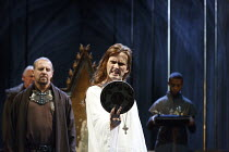 RICHARD II   by Shakespeare   design: Stephen Brimson Lewis   lighting: Tim Mitchell   director: Gregory Doran ~IV/i - Richard looking in the mirror - rear left: Nigel Lindsay (Henry Bolingbroke)   ce...