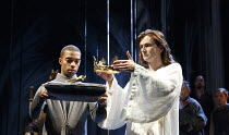 RICHARD II   by Shakespeare   design: Stephen Brimson Lewis   lighting: Tim Mitchell   director: Gregory Doran ~IV/i - l-r: Elliot Barnes-Worrell (Groom), David Tennant (King Richard II) ~Royal Shakes...