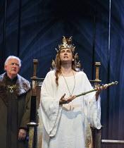 RICHARD II   by Shakespeare   design: Stephen Brimson Lewis   lighting: Tim Mitchell   director: Gregory Doran ~IV/i - rear left: Oliver Ford Davies (Duke of York)   front: David Tennant (King Richard...