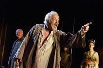 RICHARD II   by Shakespeare   design: Stephen Brimson Lewis   lighting: Tim Mitchell   director: Gregory Doran   II/i - l-r: Oliver Ford Davies (Duke of York), Michael Pennington (John of Gaunt), Emm...
