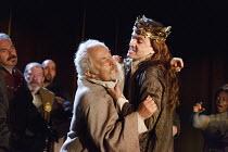 RICHARD II   by Shakespeare   design: Stephen Brimson Lewis   lighting: Tim Mitchell   director: Gregory Doran ~II/i - Gaunt & Richard struggle: Michael Pennington (John of Gaunt), David Tennant (King...