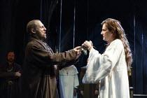 RICHARD II   by Shakespeare   design: Stephen Brimson Lewis   lighting: Tim Mitchell   director: Gregory Doran ~IV/i - fighting over the crown - l-r: Nigel Lindsay (Henry Bolingbroke), David Tennant (...