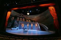 TARTUFFE   by Moliere   translated by Chris Campbell   design: Liz Ascroft   lighting: Chahine Yavroyan   director: Roxana Silbert ~stage,full,set,empty,lights,cyclorama,seats.seating,French,period~Bi...