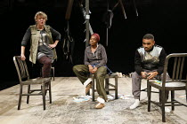 NUT   written & directed by Debbie Tucker Green   design: Lisa Marie Hall   lighting: Tim Mitchell   l-r: Sophie Stanton (Aimee), Nadine Marshall (Elayne), Anthony Welsh (Devon)  The Shed / National...