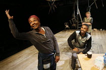 NUT   written & directed by Debbie Tucker Green   design: Lisa Marie Hall   lighting: Tim Mitchell   l-r: Nadine Marshall (Elayne), Anthony Welsh (Devon), Sophie Stanton (Aimee)  The Shed / National...
