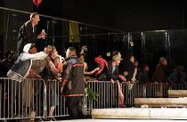 JULIUS CAESAR   by Shakespeare   director: Deborah Warner   design: Tom Pye   lighting: Jean Kalman   crowd,protestors,demonstrators BITE:05 / Barbican Theatre, London EC2                     20/04...