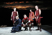 JULIUS CAESAR   by Shakespeare   director: Sean Holmes l-r: John Light (Brutus), Joseph Alessi (Casca), Paul Barnhill (Cinna), Craig Gazey (Lucius), Finbar Lynch (Cassius) part of 'The Complete Work...