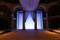 ANTONY AND CLEOPATRA   by Shakespeare   design: Tom Piper   lighting: Stephen Strawbridge   director: Tarell Alvin McCraney ~stage,set,full,empty,column,pillar,curtain,lights,Saint Domingue,auditorium...